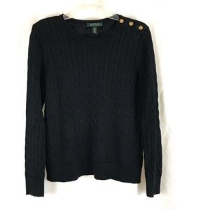 RALPH LAUREN Black Cable Knit Sweater Gold Buttons